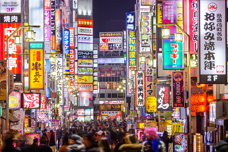 Bright lights of Kabukicho in the evening