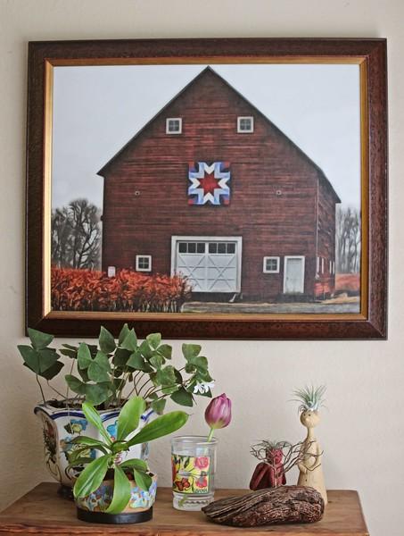 Framed Patchwork Barn in Fall