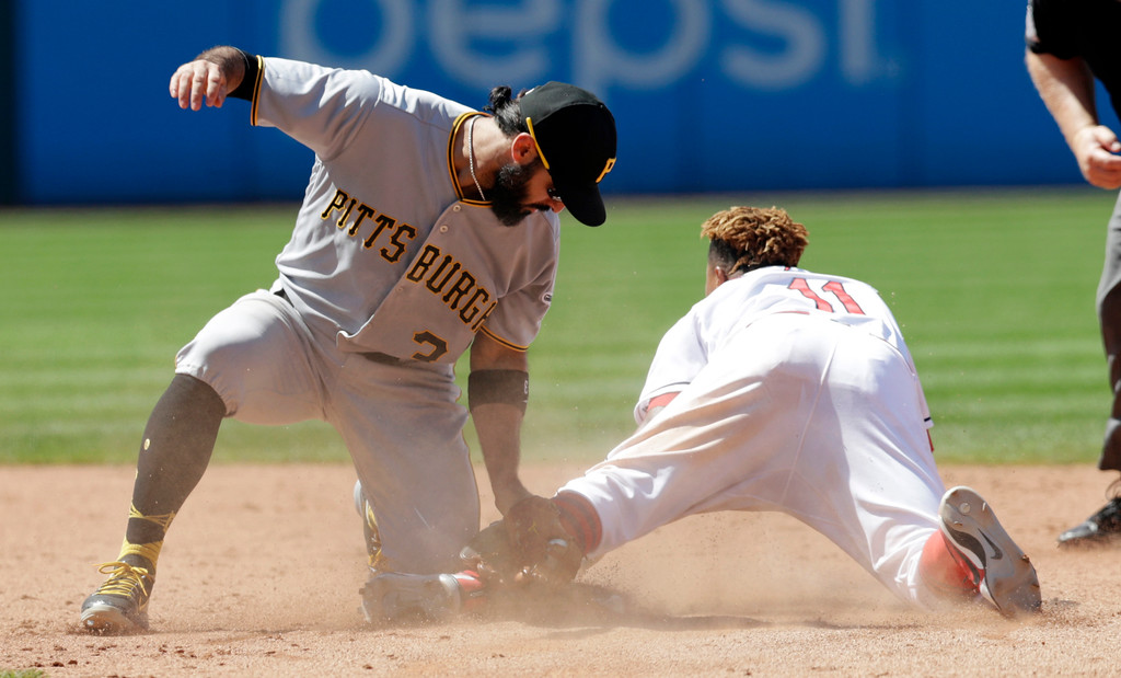 . Cleveland Indians\' Jose Ramirez, right, steals second base as Pittsburgh Pirates\' Sean Rodriguez is late with the tag in the eighth inning of a baseball game, Wednesday, July 25, 2018, in Cleveland. The Indians won 4-0. (AP Photo/Tony Dejak)