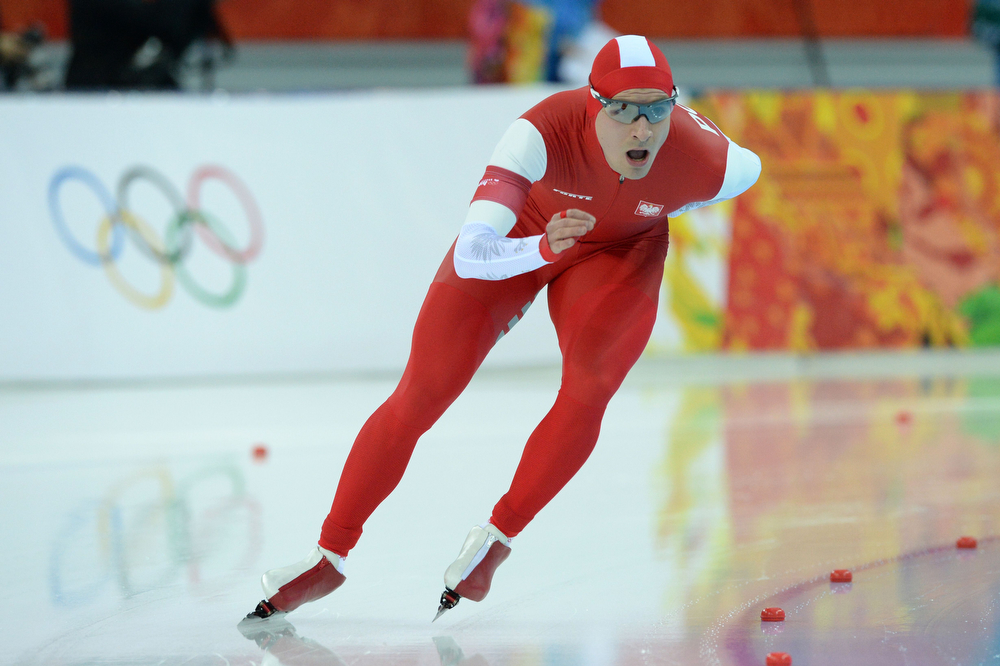 . Poland\'s Jan Szymanski competes in the Men\'s Speed Skating 5000m at the Adler Arena during the 2014 Sochi Winter Olympics on February 8, 2014.  (ANDREJ ISAKOVIC/AFP/Getty Images)