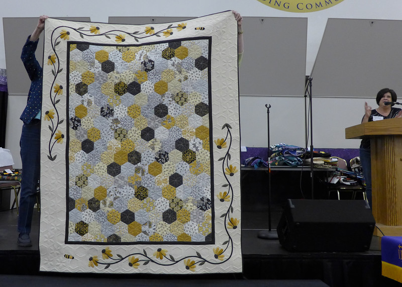 "Quilt made Kathy Kittle this quilt and is planning on entering it in the AQS show in Grand Rapids.  It is Called ""Bee My Honey"".  She also did the quilting."