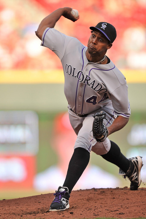 . Juan Nicasio #44 of the Colorado Rockies pitches in the first inning against the Cincinnati Reds at Great American Ball Park on June 4, 2013 in Cincinnati, Ohio.  (Photo by Jamie Sabau/Getty Images)