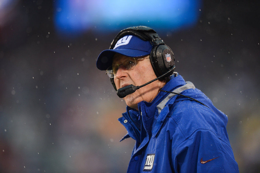 . Head coach Tom Coughlin of the New York Giants on the sideline against the Washington Redskins in the first half  at MetLife Stadium on December 29, 2013 in East Rutherford, New Jersey. (Photo by Ron Antonelli/Getty Images)