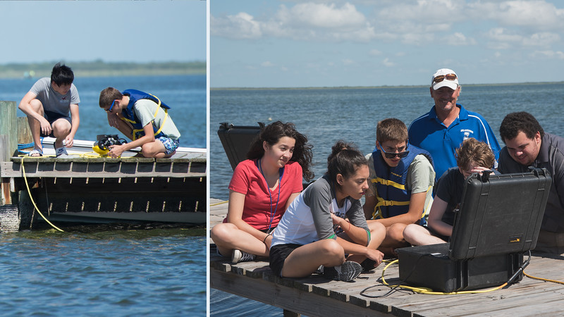 Students from the coastal bend area work together to initialize the underwater remotely operated vehicle at the Laguna Madre Field Station. During the 2016 TAMU-CC Stem Camp.