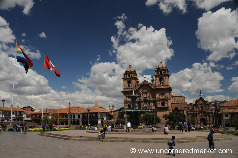 Walking Across the Plaza de Armas - Cusco, Peru