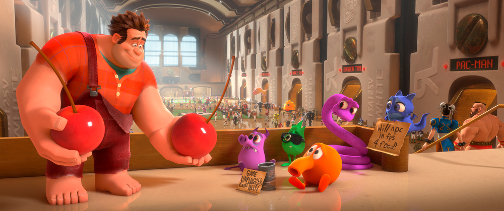 ". This film image released by Disney shows Ralph, left, voiced by John C. Reilly in a scene from ""Wreck-It Ralph.\"" The film was nominated for a Golden Globe for best animated film on Thursday, Dec. 13, 2012. The 70th annual Golden Globe Awards will be held on Jan. 13. (AP Photo/Disney, File)"