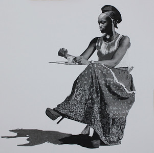 """""""Dahomey in the Cafe"""" (charcoal) by Neville Barbour"""