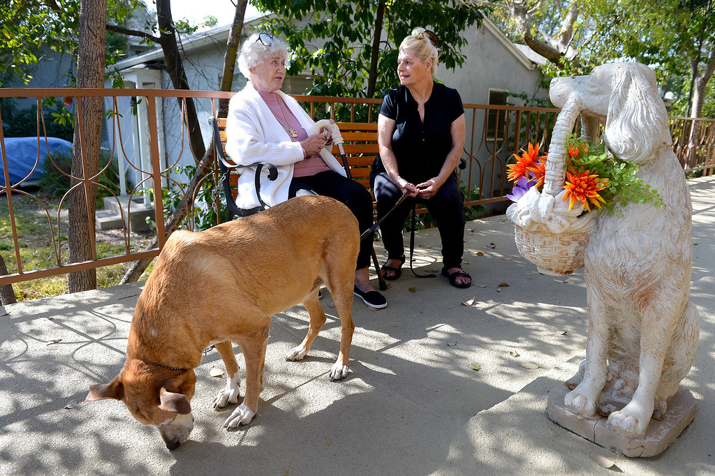 . Apartment owner Judy Guth, left, chats with Mary Ricketts, with her dog Sadie, at Guth\'s North Hollywood apartment that requires tenants to have pets, Wednesday, February 19, 2014. (Photo by Michael Owen Baker/L.A. Daily News)