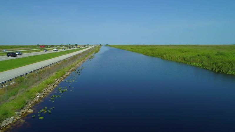 Aerial Florida Everglades wildlife canal