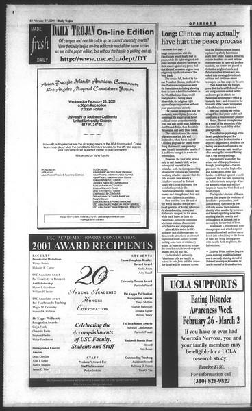 Daily Trojan, Vol. 142, No. 32, February 27, 2001