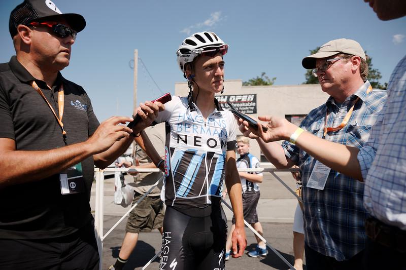 Sean Weide getting the scoop on Adrien Costa's finish, Larry H. Miller Tour of Utah, 2016. (Photo: Davey Wilson)