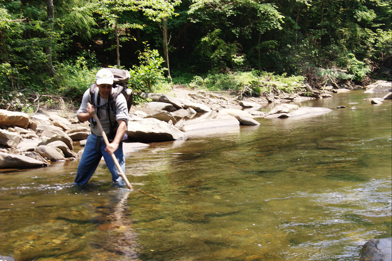 In the later river crossings, we both picked up sticks to help balance while crossing the river. Using a stick is helpful when the water is deeper, flowing fast and the river bed is slippery and what you step on varies from step to step.
