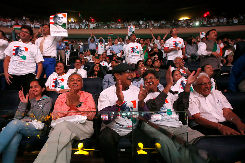 . Supporters cheer as India\'s Prime Minister Narendra Modi gives a speech during a reception by the Indian community in honor of his visit to the United States at Madison Square Garden, Sunday, Sept. 28, 2014, in New York. (AP Photo/Jason DeCrow)