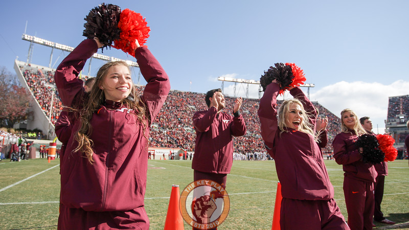 Virginia Tech cheerleaders stand on the sidelines during a media timeout. (Mark Umansky/TheKeyPlay.com