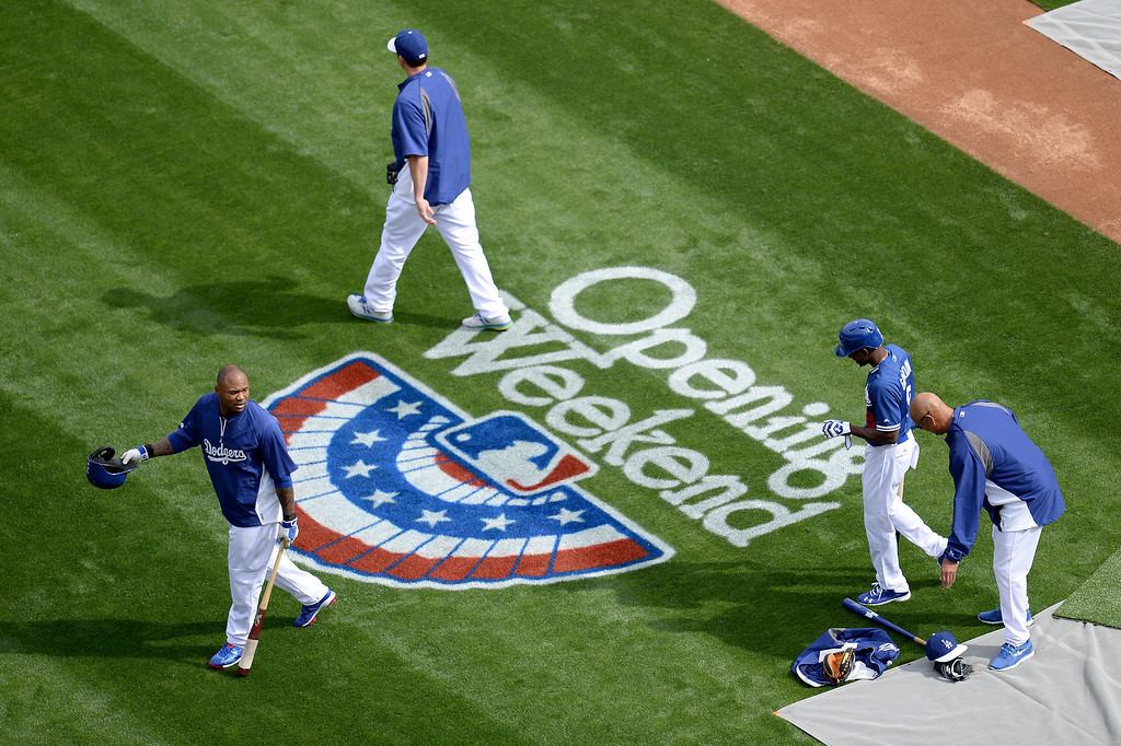 . Opening day fielding practice, Friday, April 4, 2014, at Dodger Stadium. (Photo by Hans Gutknecht/L.A. Daily News)