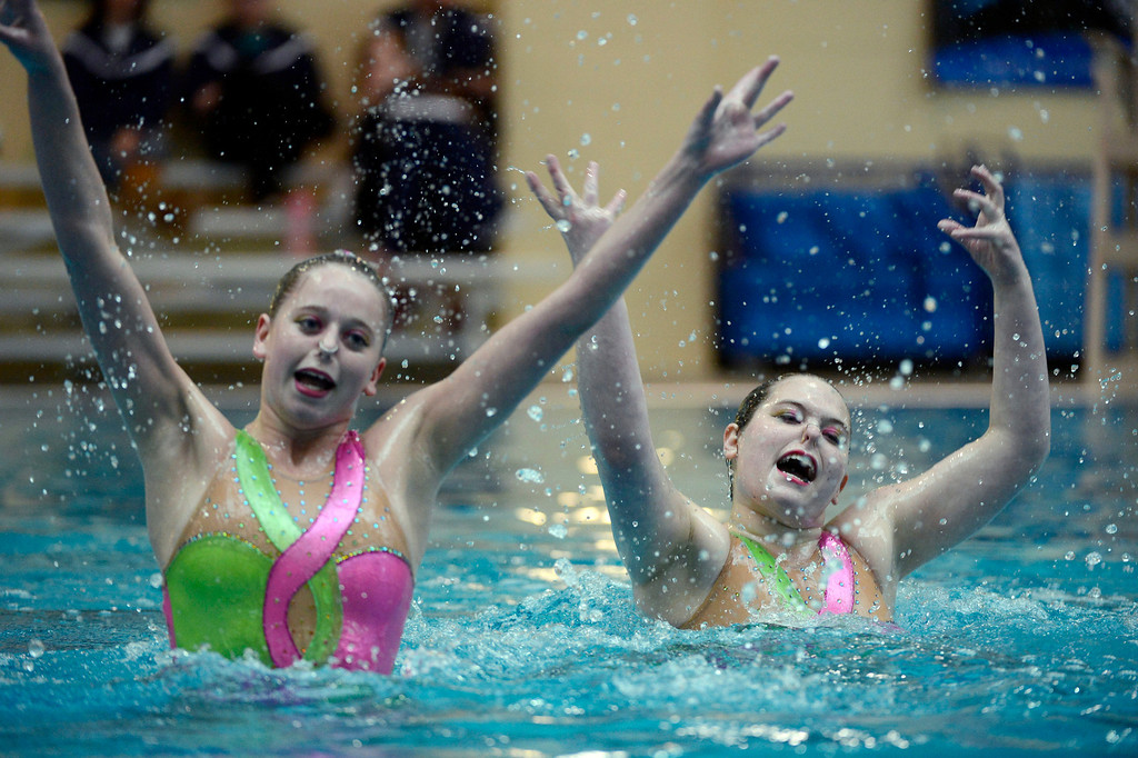 . THORNTON, CO. - MARCH 10: Saint Paul Stars duet team Natalie Rucks and Delaney Simmons perform during the duet free at The Rocky Mountain Synchronized Swimming North Zones Championships  March 10, 2013 at Veterans Memorial Aquatic Center. (Photo By John Leyba/The Denver Post)