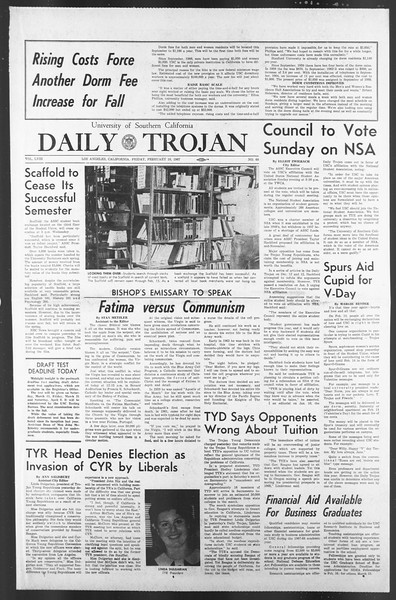 Daily Trojan, Vol. 58, No. 68, February 10, 1967
