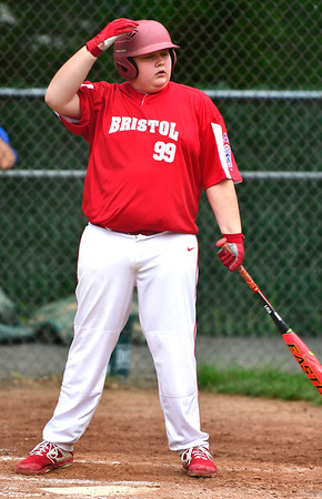 6/25/2019 Mike Orazzi   Staff Forestville's Zachary White (99) during Tuesday's baseball game with Wallingford in Bristol.