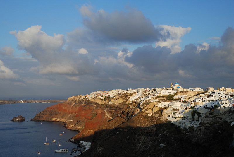 A view of Oia at sunrise