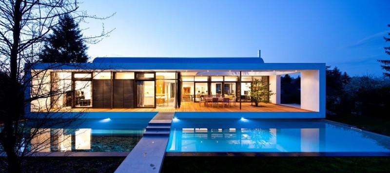 Elegant Tall Tree Bright Home View Romantic Swimming Pool Unique Veranda Design