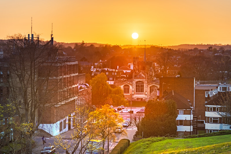 Sunset over Hitchin, Hertfordshire