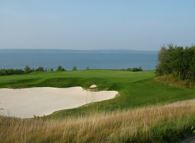 One of 'The Links' holes along Little Traverse Bay (Lake Michigan)