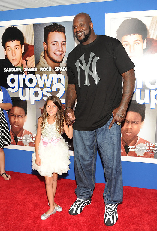 """. Retired basketball player and actor  Shaquille O\'Neal and actress Alexys Nycole Sanchez attend the premiere of \""""Grown Ups 2\"""" at the AMC Loews Lincoln Square on Wednesday, July 10, 2013 in New York. (Photo by Evan Agostini/Invision/AP)"""