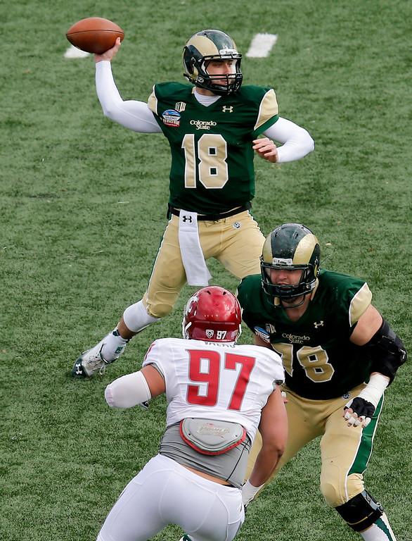 . Colorado State quarterback Garrett Grayson (18) throws as teammate Jared Biard (78) blocks Washington State defensive lineman Destiny Vaeao (97) during the first half of the NCAA New Mexico Bowl college football game on Saturday, Dec. 21, 2013, in Albuquerque, N.M. (AP Photo/Matt York)