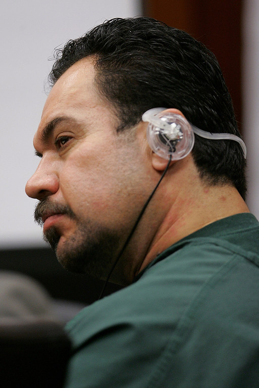 . Jaime Plascencia, 44, listens to a translation in a Santa Clara County Superior Court in a San Jose, Calif., Wednesday, Jan. 18, 2006. Plascencia, and his wife Anna Ayala, who cooked up a scheme last March to plant a severed finger in a bowl of Wendy\'s chili to extort money from the fast food chain, were sentenced to up to nine years in prison. (AP Photo/Paul Sakuma)