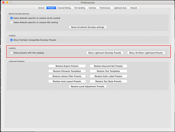 Lightroom Preferences - Presets with the location section marked in red