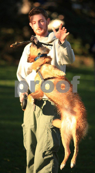 A dog jumps for a stick held by his master.