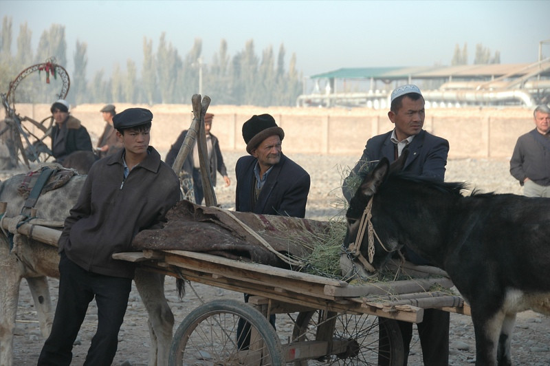 Three Uighur Men and a Donkey - Kashgar, China