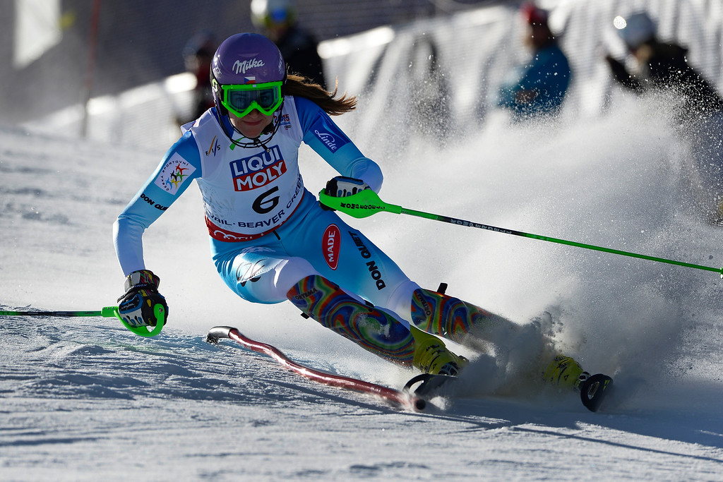 . Sarka Strachova of the Czech Republic races in the Ladies slalom at the FIS Alpine World Ski Championships in Beaver Creek, CO. February 14, 2015. She is currently in third place after the first run. (Photo By Helen H. Richardson/The Denver Post)