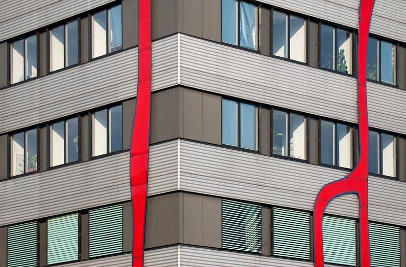 Detail of Facade of Fernwärme Wien Headquarters in Spittelau, Vienna (Austria), Designed by Friedensreich Hundertwasser