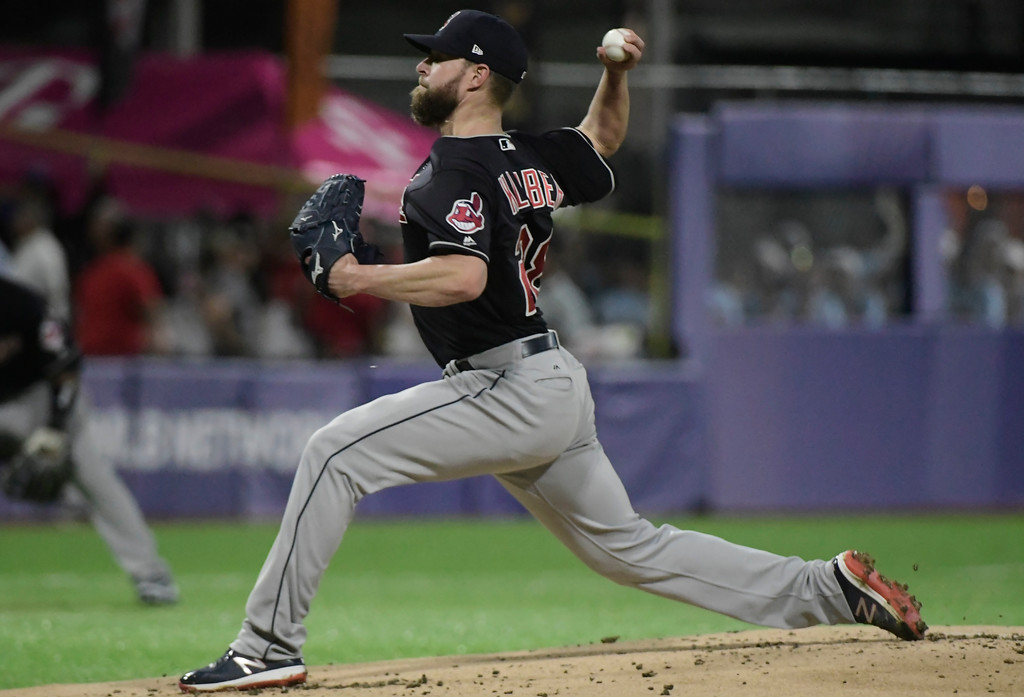 . Cincinnati Indians pitcher Corey Kluber throws to the Minnesota Twins in the first inning of game one of a two-game MLB Series at Hiram Bithorn Stadium in San Juan, Puerto Rico, Tuesday, April 17, 2018. (AP Photo/Carlos Giusti)