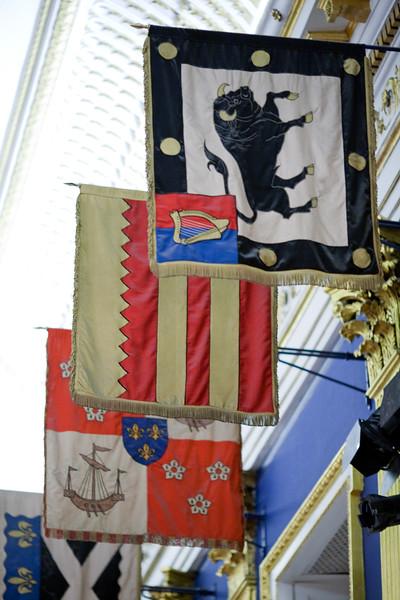 Irish flags hanging from Saint Patrick's Hall walls, Dublin Castle, Dublin, Ireland