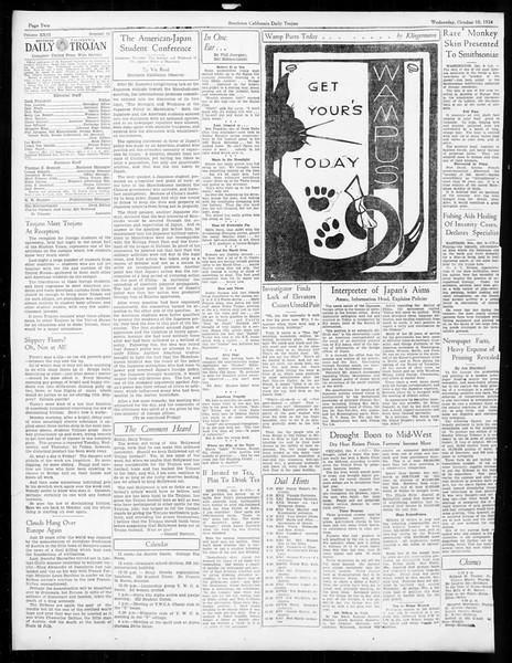 Daily Trojan, Vol. 26, No. 14, October 10, 1934