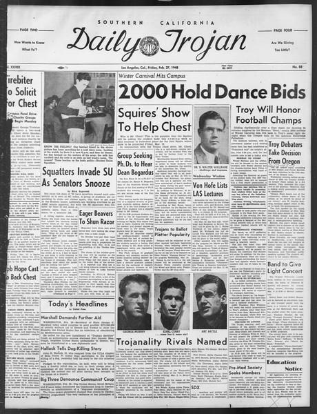 Daily Trojan, Vol. 39, No. 88, February 27, 1948