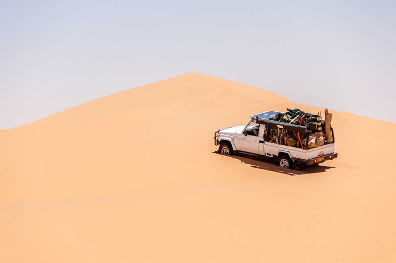 Driving through the Namib Desert sand dunes
