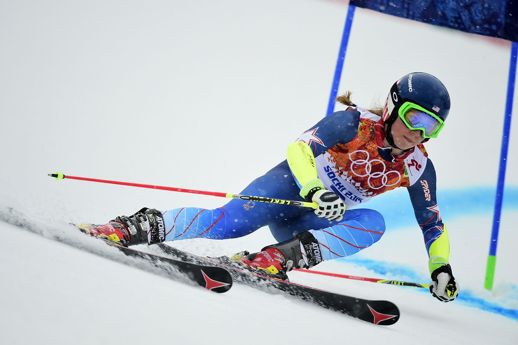 . US skier Mikaela Shiffrin competes during the Women\'s Alpine Skiing Giant Slalom Run 1 at the Rosa Khutor Alpine Center during the Sochi Winter Olympics on February 18, 2014.         AFP PHOTO / FABRICE COFFRINI/AFP/Getty Images