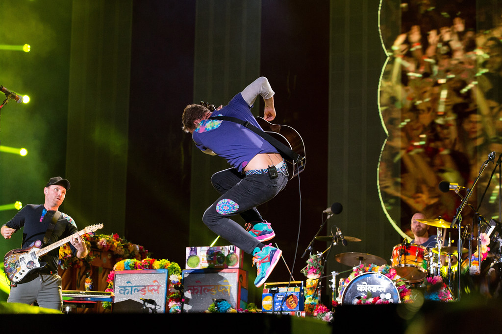 . Chris Martin of Coldplay performs at The Budweiser Made In America Festival on Sunday, Sept. 4, 2016, in Philadelphia. Coldplay performs Aug. 19 at Quicken Loans Arena. For more information, visit theqarena.com. (Photo by Michael Zorn/Invision/AP)