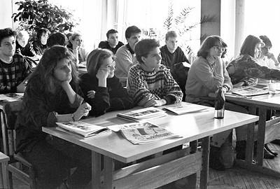 Школьники из ФРГ встреча в библиотеке издательства март 1988г