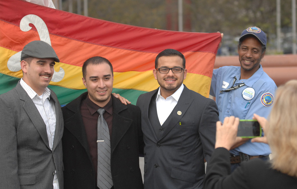 . 3/26/13 - Long Beach Mayor Bob Foster, vice mayor Robert Garcia, Council member Gerrie Schipske and many from the LGBT community came together Tuesday morning as city hall raised the gay pride flag,  in recognition of the U.S. Supreme Court hearing taking place in Washington, D.C.  Photo by Brittany Murray / Staff Photographer