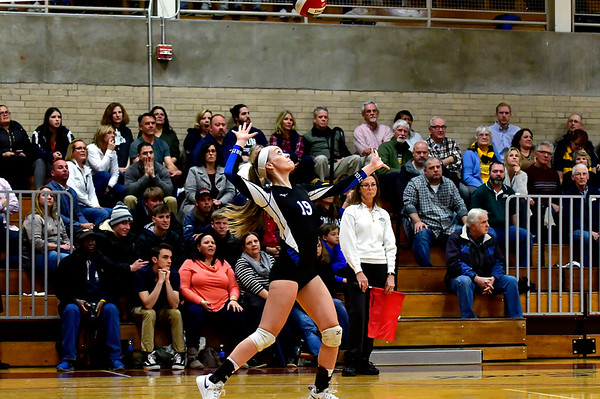 11/14/2018 Mike Orazzi   Staff Bristol Eastern's Amber Blais (19) during the Class L Semifinal State Girls Volleyball Tournament with Woodstock Academy held at Windsor High School Wednesday night.