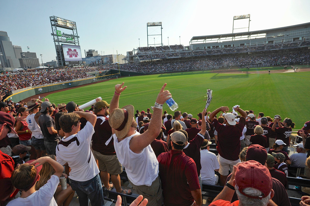 . Mississippi State fans fill TD Ameritrade Park ahead of Game 1 in the NCAA College World Series baseball finals against UCLA, Monday, June 24, 2013, in Omaha, Neb. (AP Photo/Eric Francis)