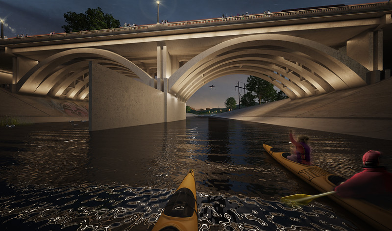 2011, Kayaking Under New Bridge