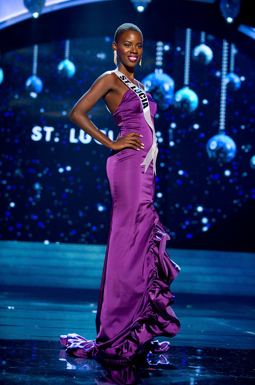 . Miss St. Lucia 2012 Tara Edward competes in an evening gown of her choice during the Evening Gown Competition of the 2012 Miss Universe Presentation Show in Las Vegas, Nevada, December 13, 2012. The Miss Universe 2012 pageant will be held on December 19 at the Planet Hollywood Resort and Casino in Las Vegas. REUTERS/Darren Decker/Miss Universe Organization L.P/Handout