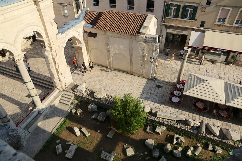Crumbled ruins lay amongst cafes and shops — view from the Bell Tower, Diocletian's Palace