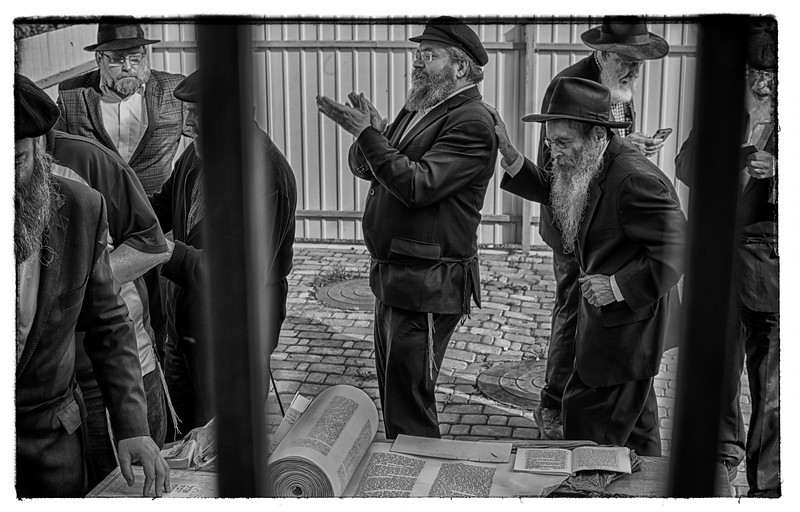Celebrating in a moment of spontaneous song, dancing around the Torah in Anapoli.