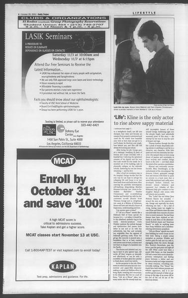 Daily Trojan, Vol. 144, No. 43, October 29, 2001